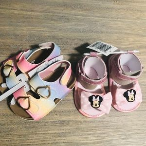 Minnie Mouse and Rainbow Baby Sandals.